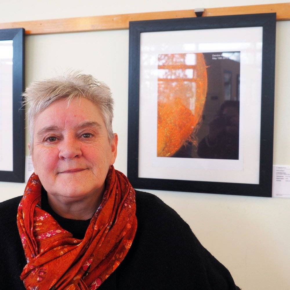 Artist:Astronomer Deirdre Kelleghan pictured in front of her exhibition submission