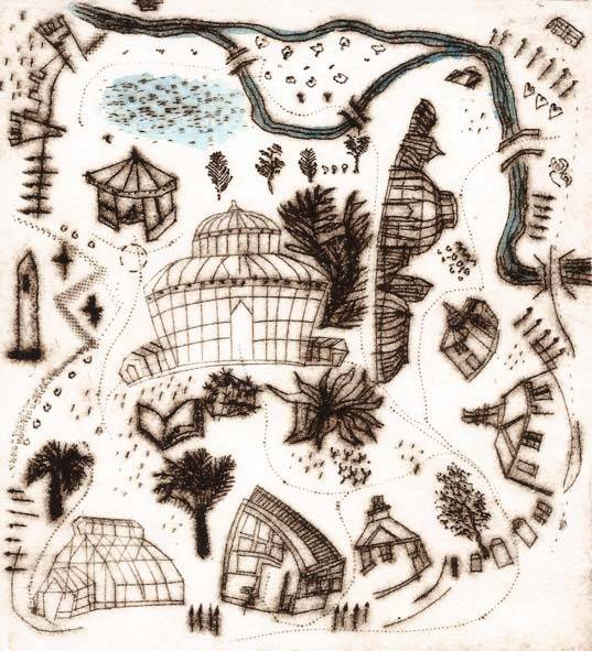 David Lilburn A visit to the Botanic Gardens Drypoint, roulette & engraving