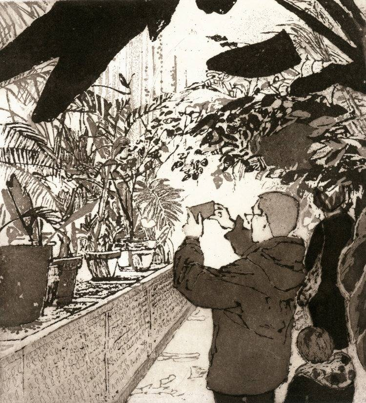 Grainne Dowling, Visitors to the Palm House Etching and Aquatint Image size- 20 x 18cm Paper size- 41 x 35cm