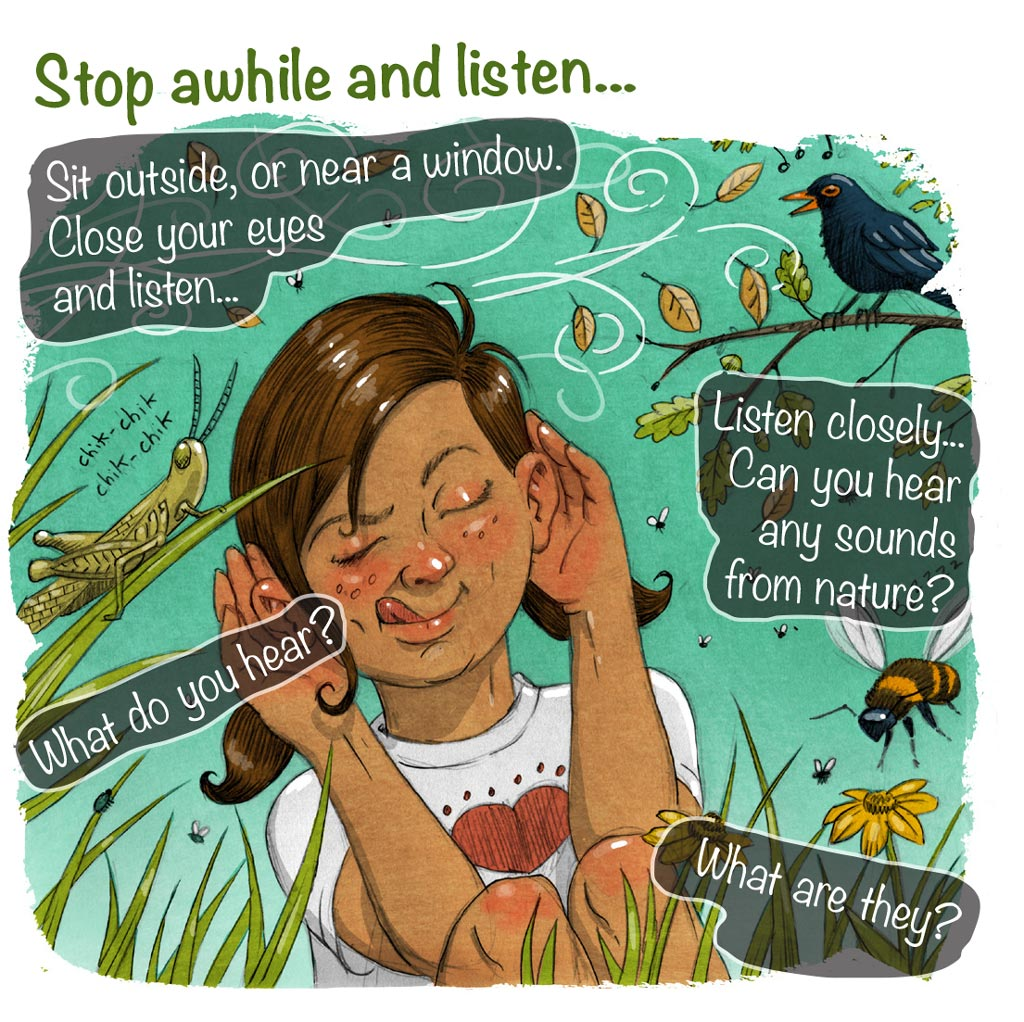 illustration of girl in nature listening to sounds of insects grasshopper bees flies blackbird and wind through leaves