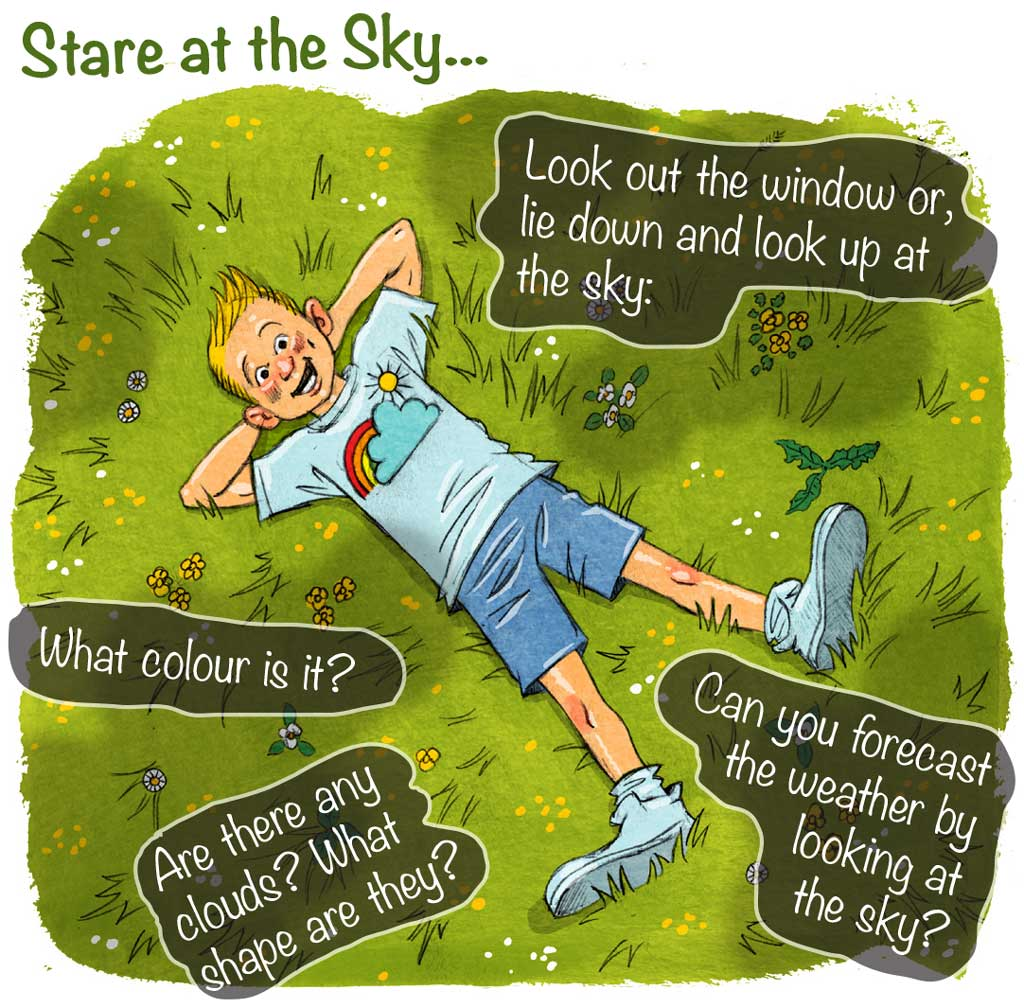 Illustration of smiling boy lying on grass looking at sky clouds